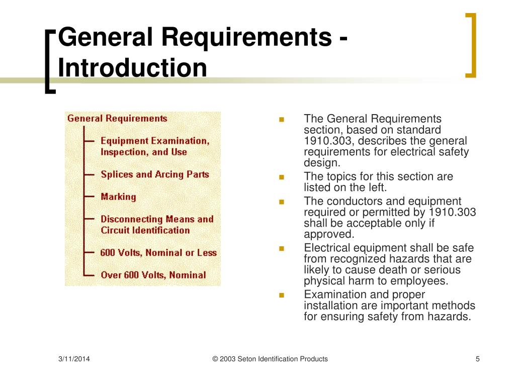 General Requirements - Introduction