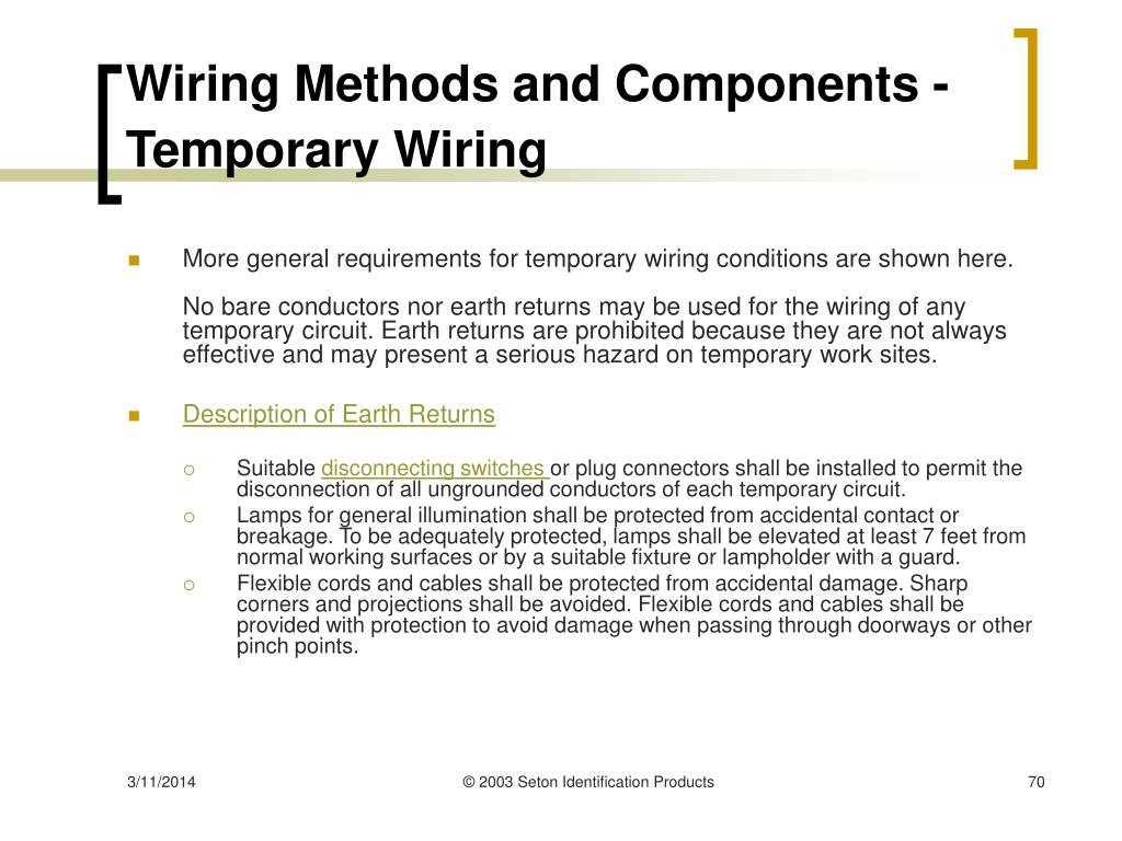 Wiring Methods and Components - Temporary Wiring