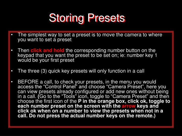 Storing Presets