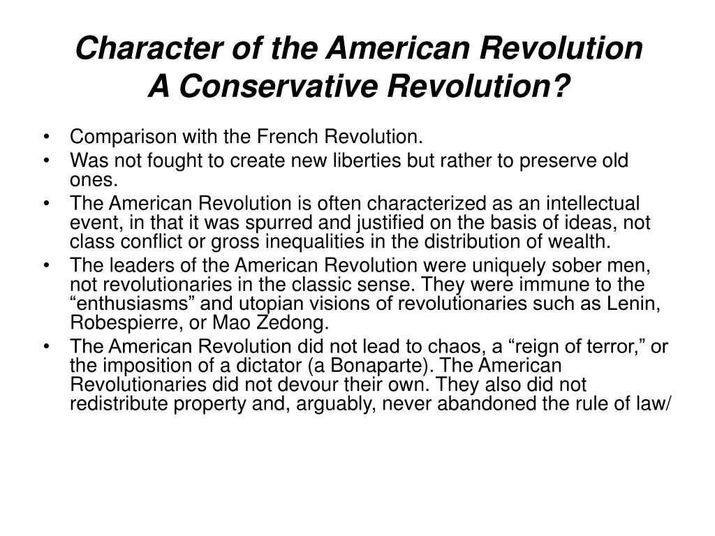Character of the American Revolution