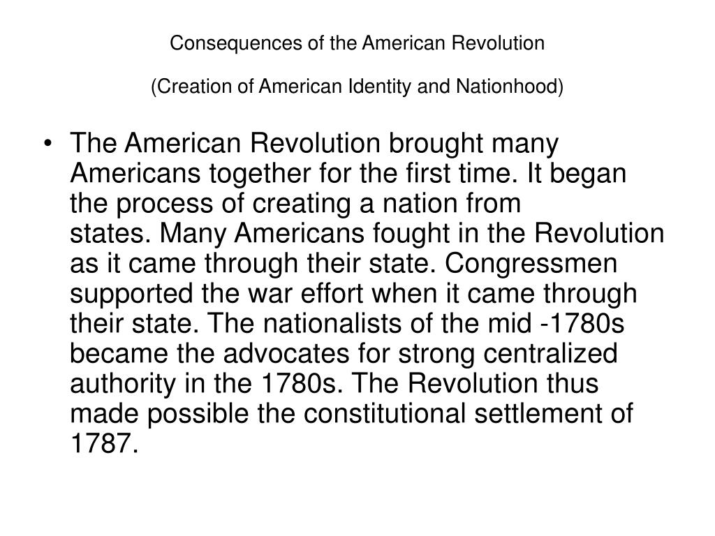 Consequences of the American Revolution