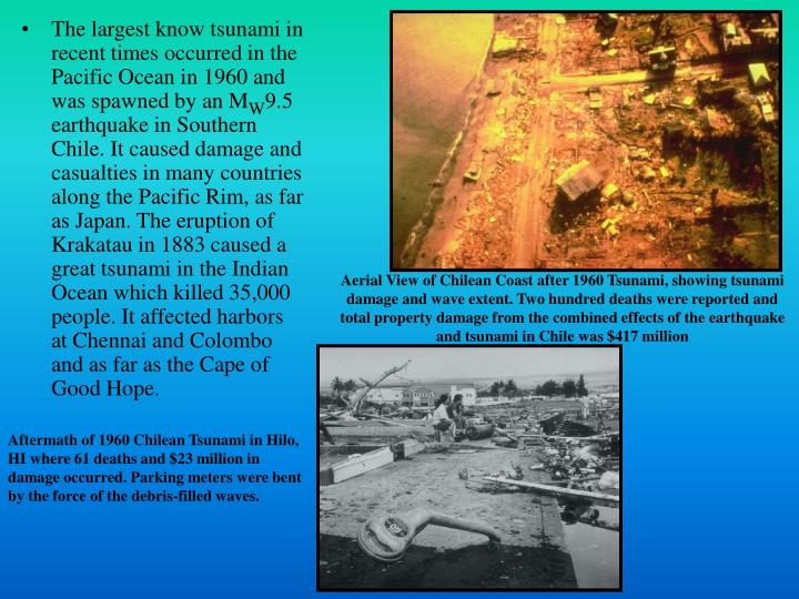 The largest know tsunami in recent times occurred in the Pacific Ocean in 1960 and was spawned by an...