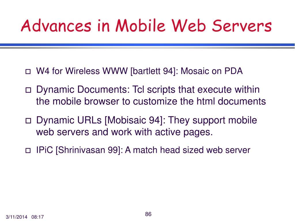 Advances in Mobile Web Servers