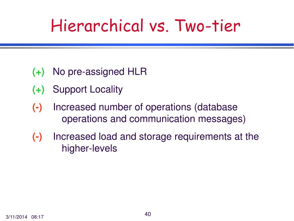 Hierarchical vs. Two-tier