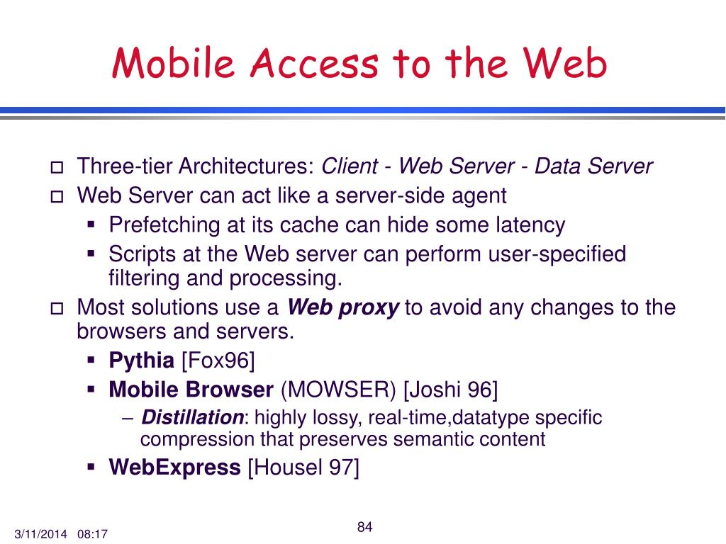 Mobile Access to the Web