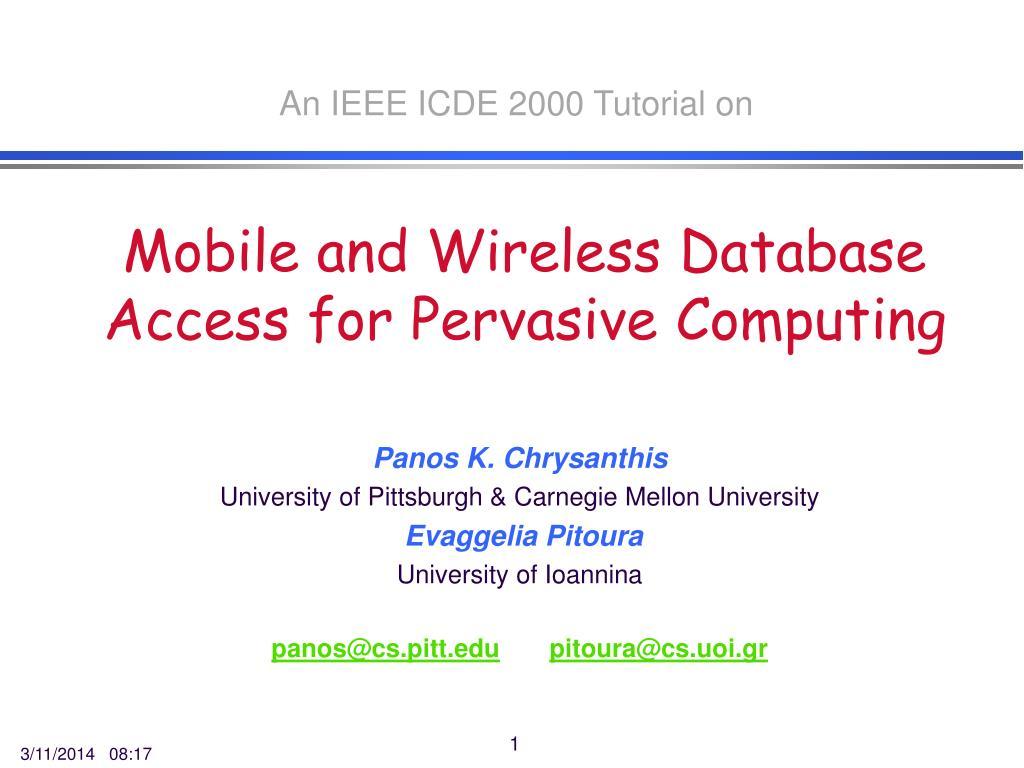 An IEEE ICDE 2000 Tutorial on
