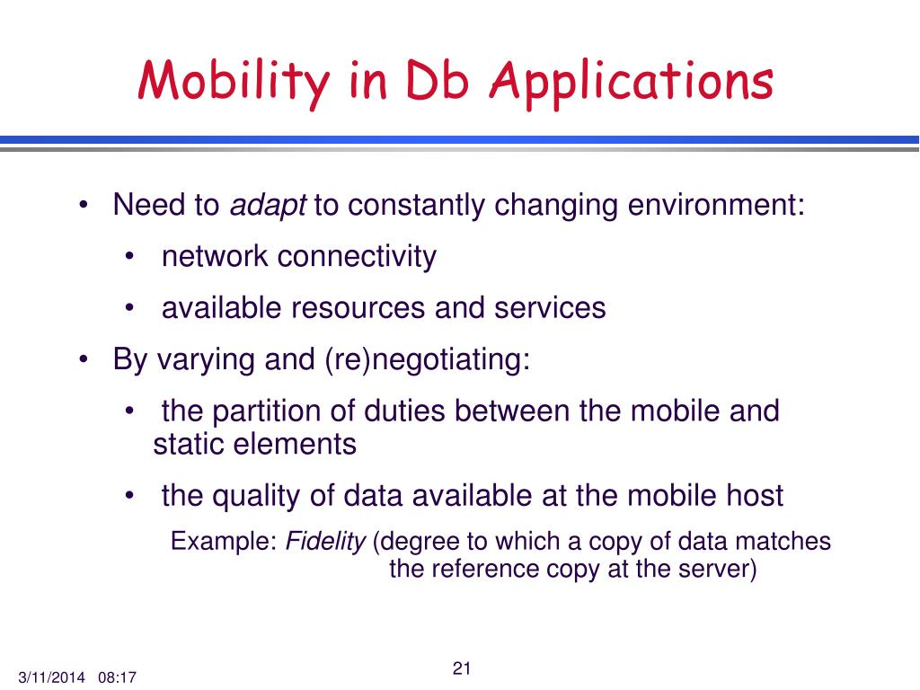 Mobility in Db Applications