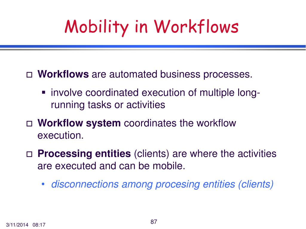 Mobility in Workflows