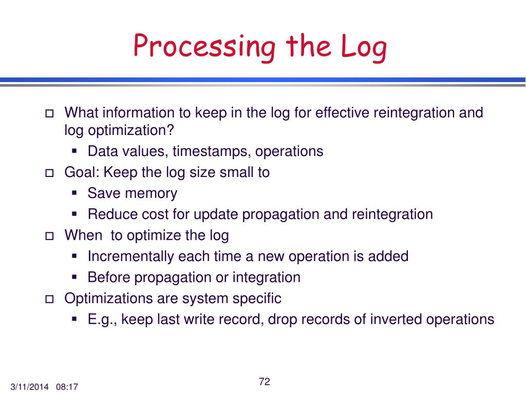 Processing the Log