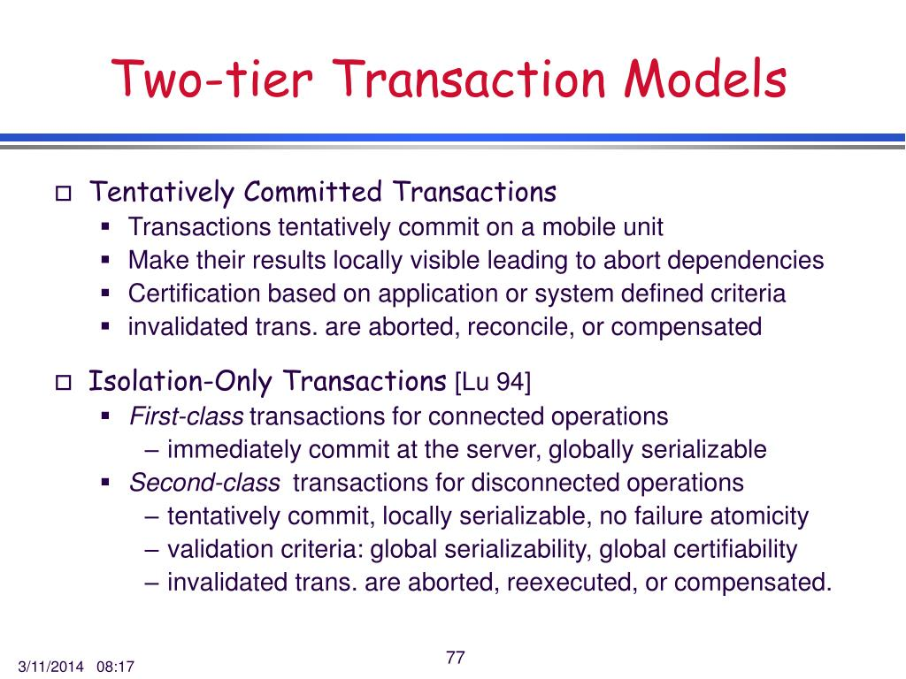 Two-tier Transaction Models
