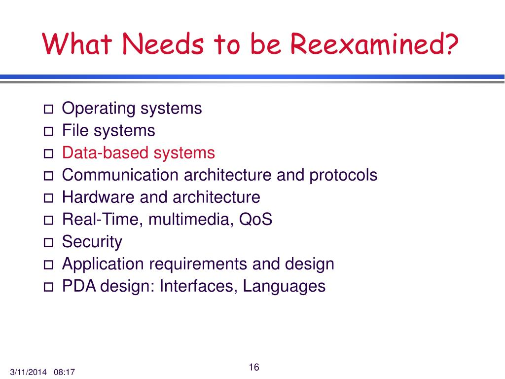 What Needs to be Reexamined?