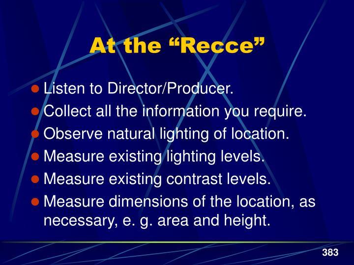 """At the """"Recce"""""""