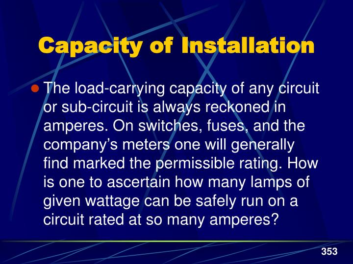 Capacity of Installation