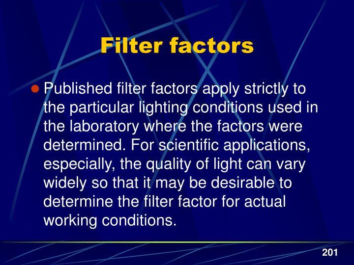 Filter factors
