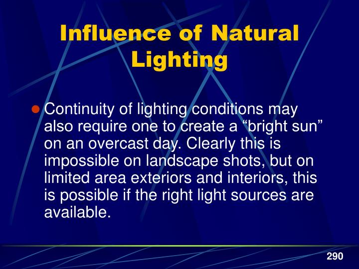 Influence of Natural Lighting