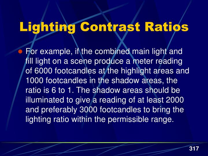 Lighting Contrast Ratios
