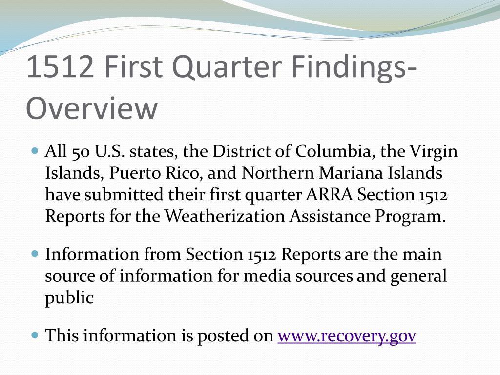 1512 First Quarter Findings-