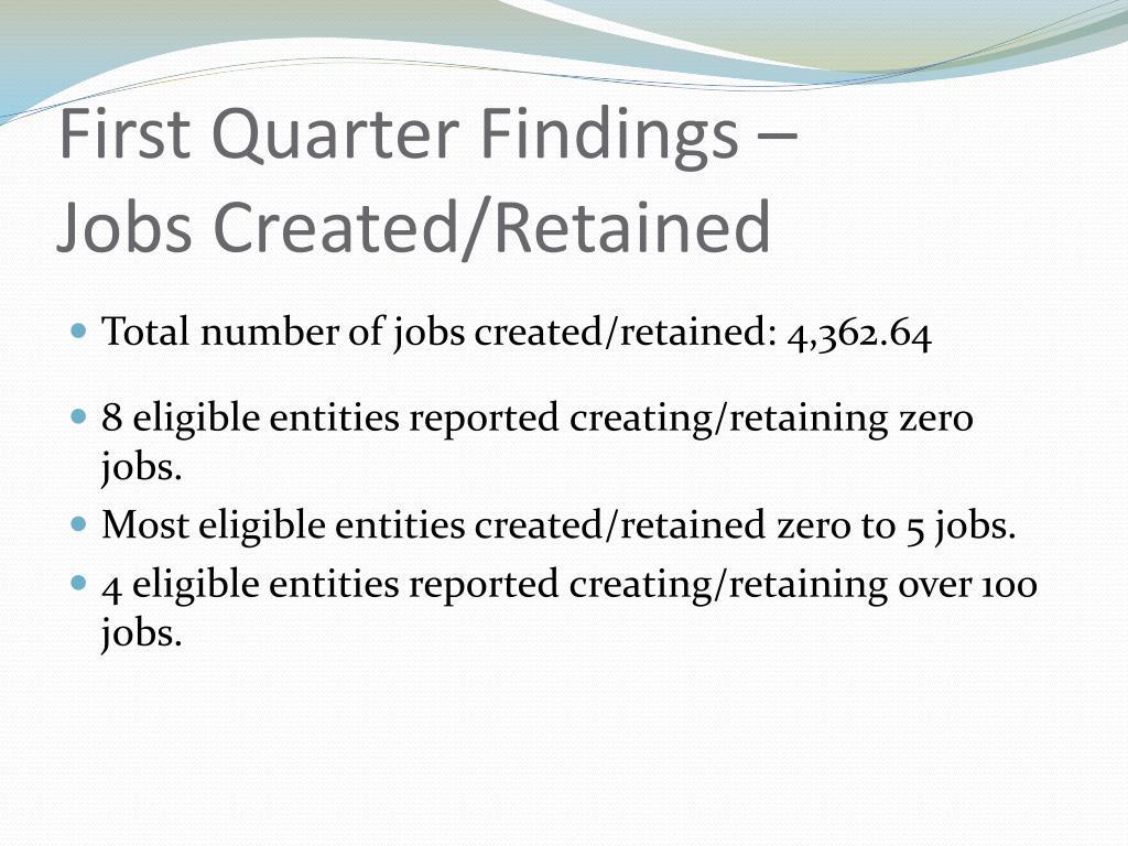 First Quarter Findings –