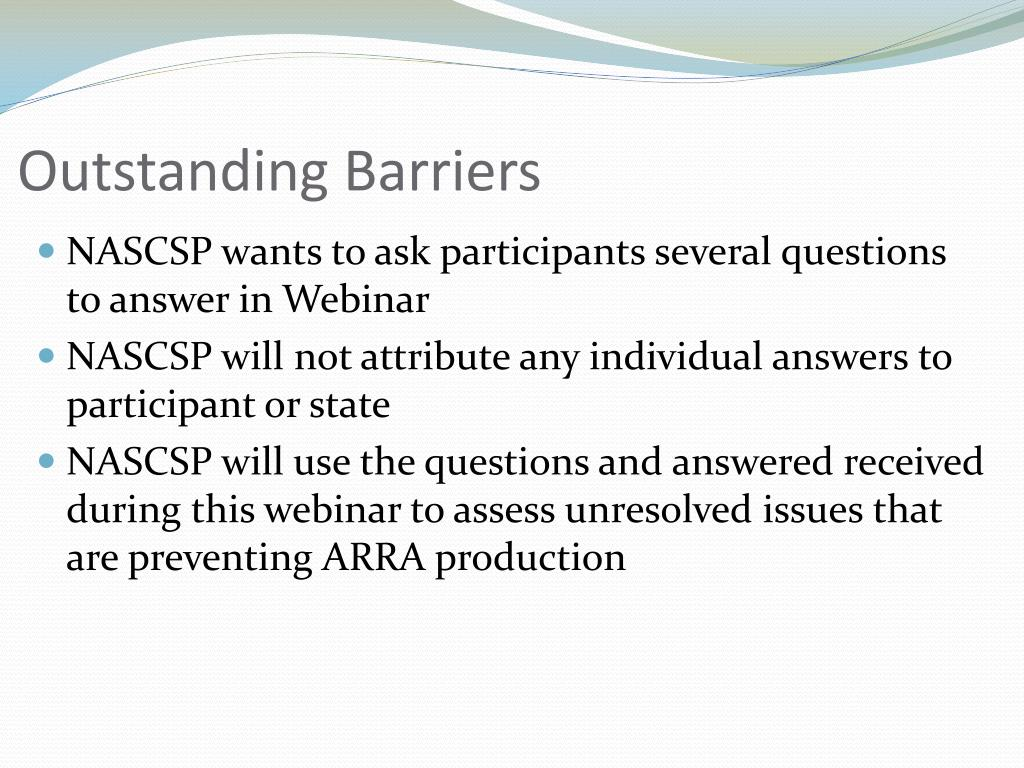 Outstanding Barriers