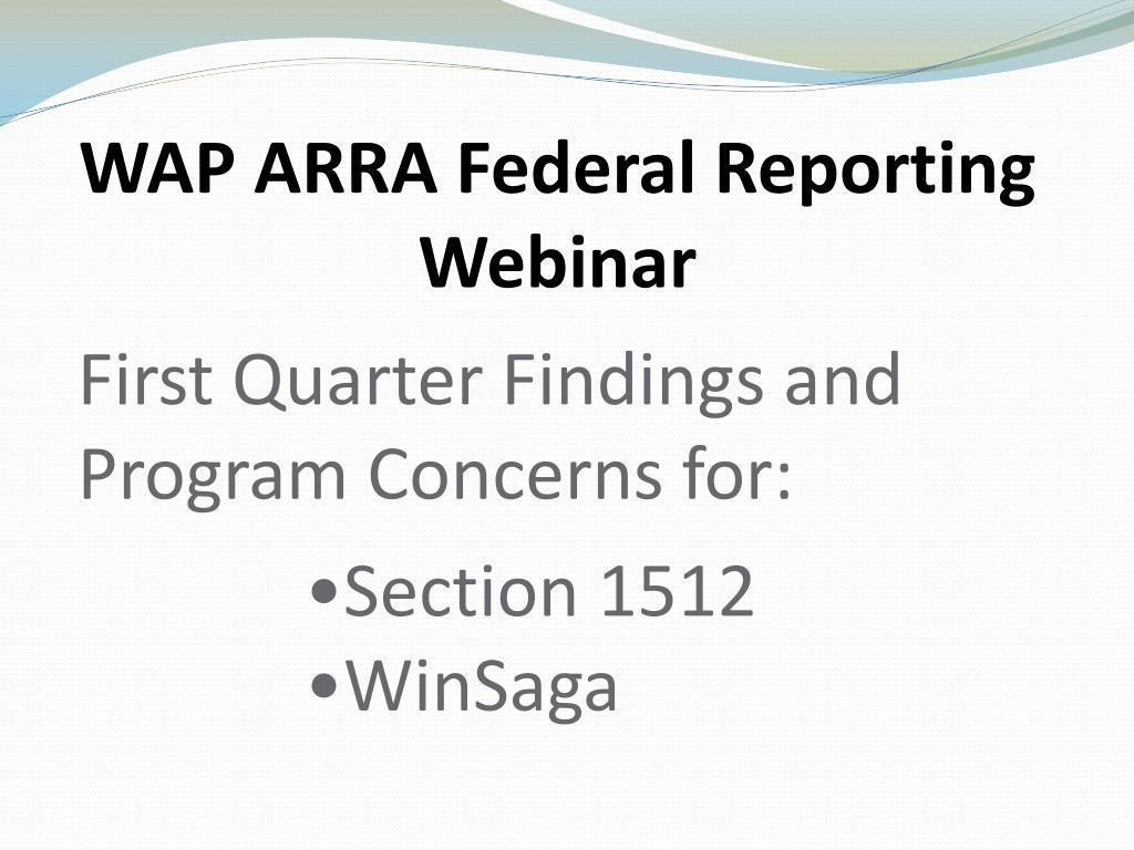 WAP ARRA Federal Reporting