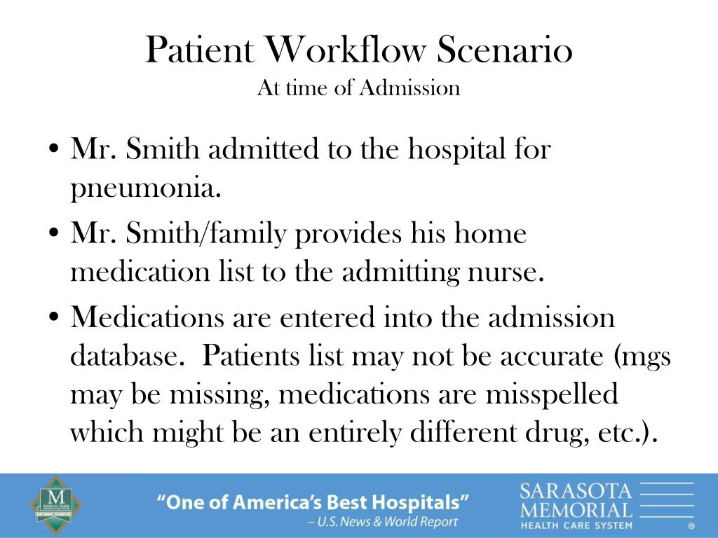 Mr. Smith admitted to the hospital for pneumonia.