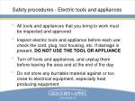 safety procedures electric tools and appliances