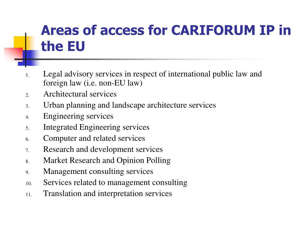 Areas of access for CARIFORUM IP in the EU