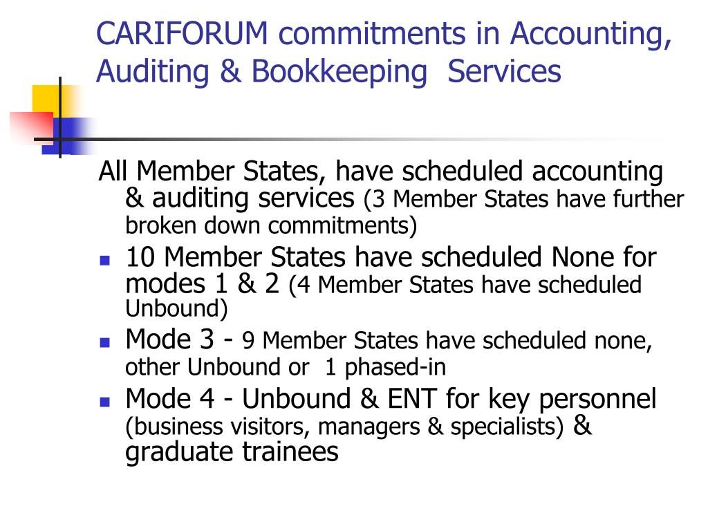 CARIFORUM commitments in Accounting, Auditing & Bookkeeping  Services