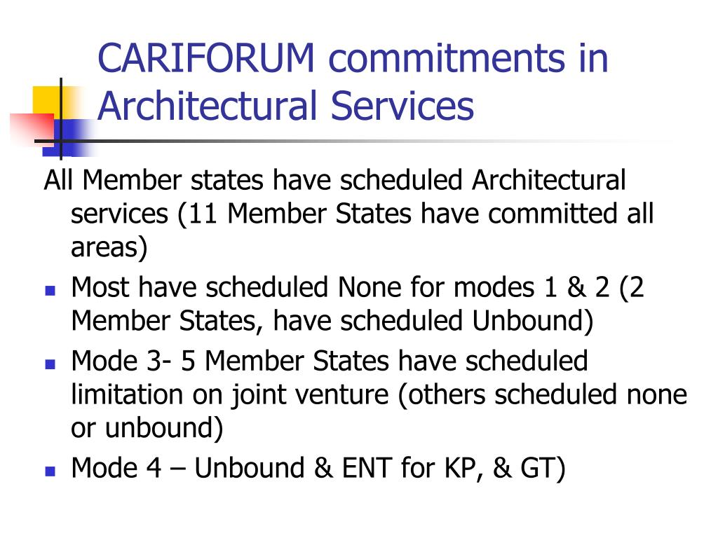 CARIFORUM commitments in Architectural Services