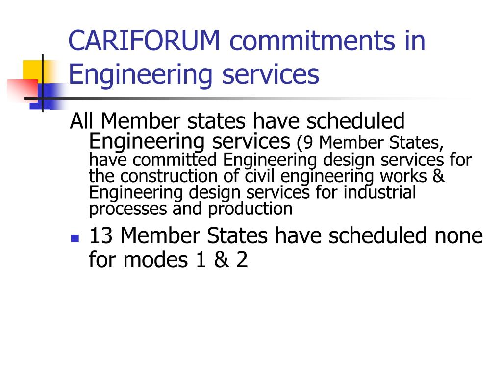 CARIFORUM commitments in Engineering services