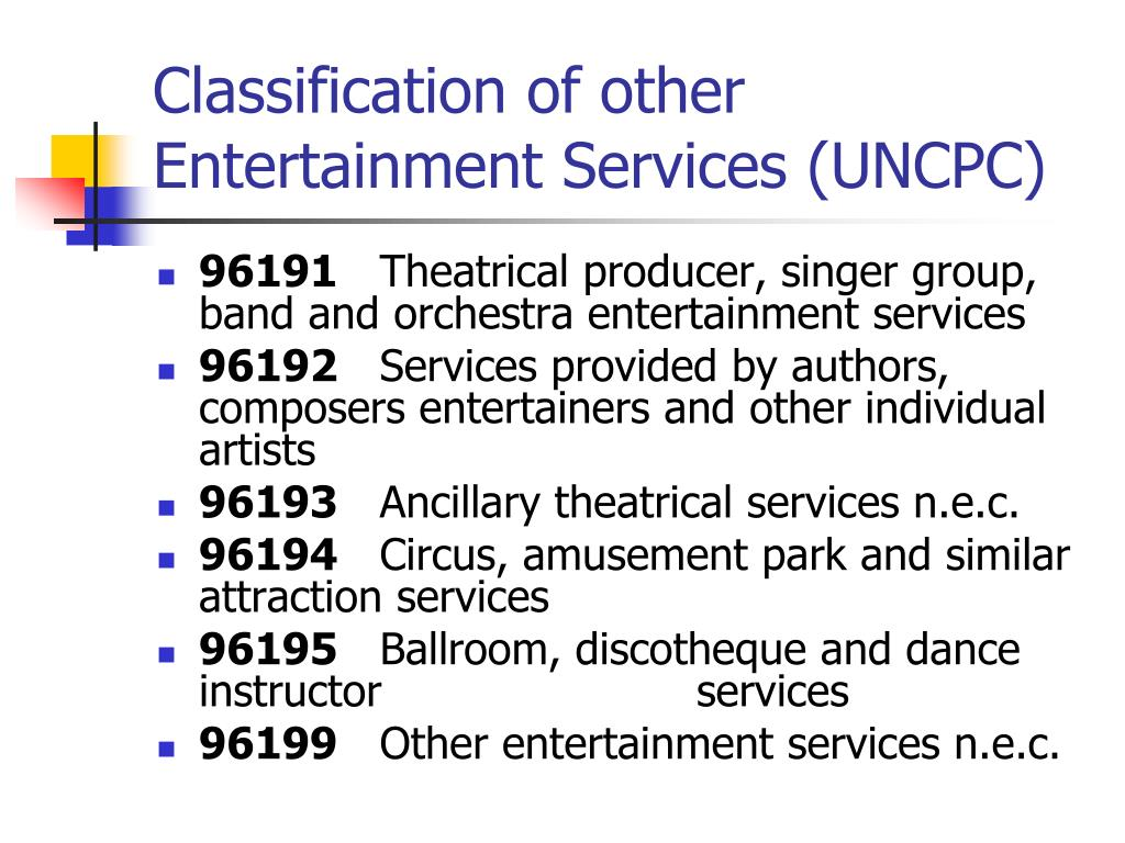 Classification of other Entertainment Services (UNCPC)
