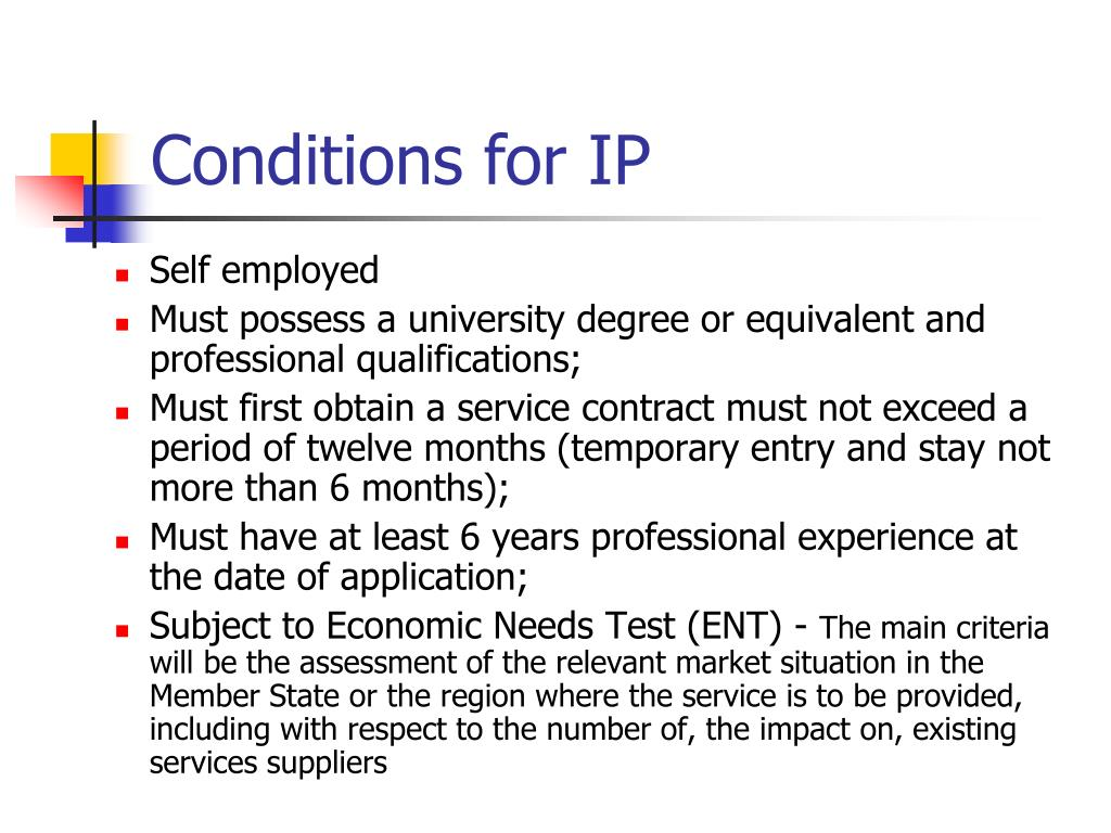 Conditions for IP
