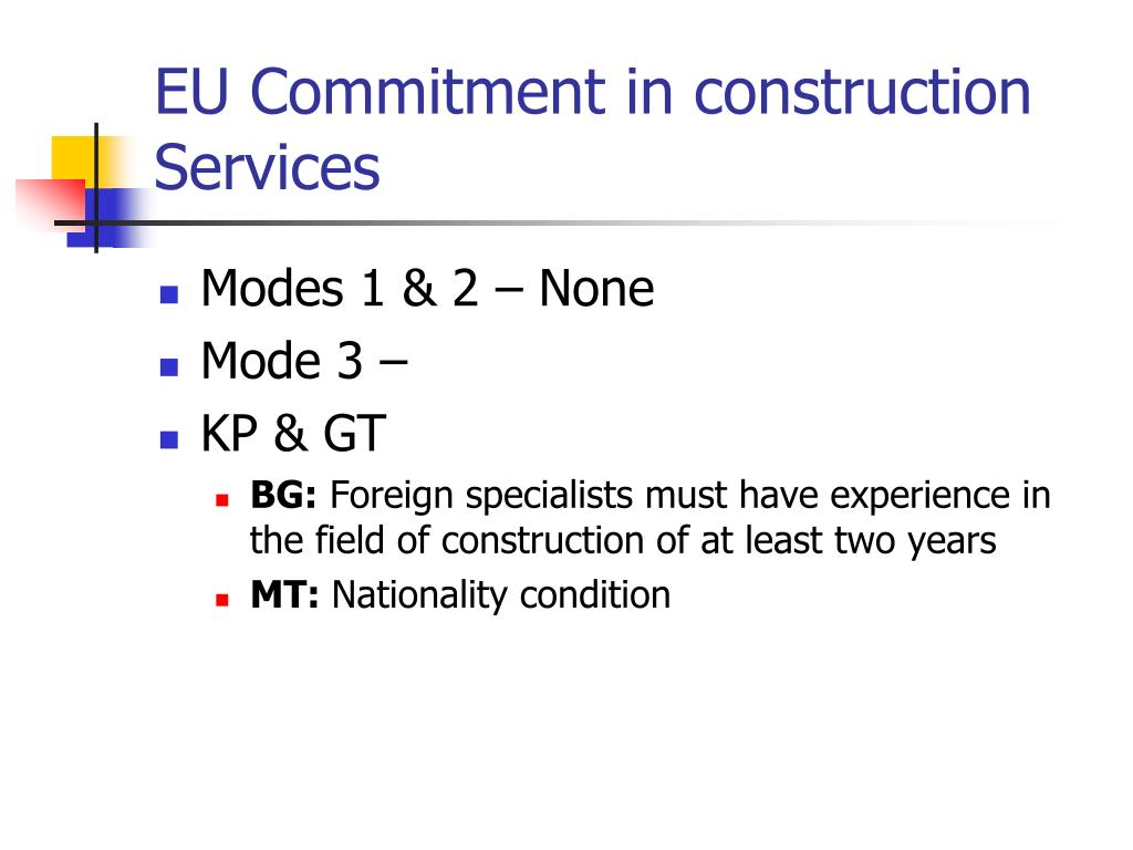 EU Commitment in construction Services