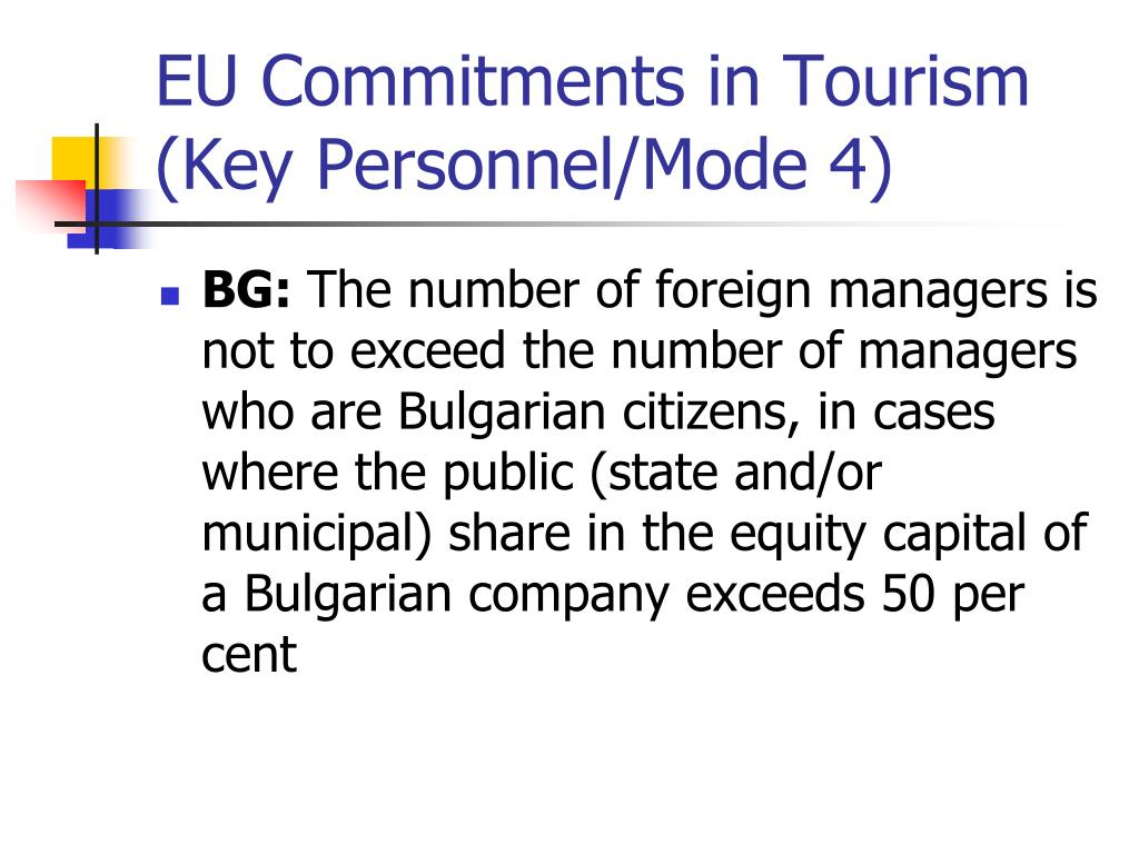 EU Commitments in Tourism (Key Personnel/Mode 4)