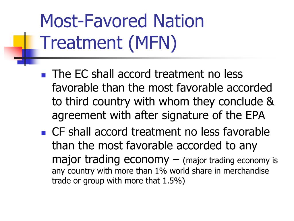 Most-Favored Nation Treatment (MFN)