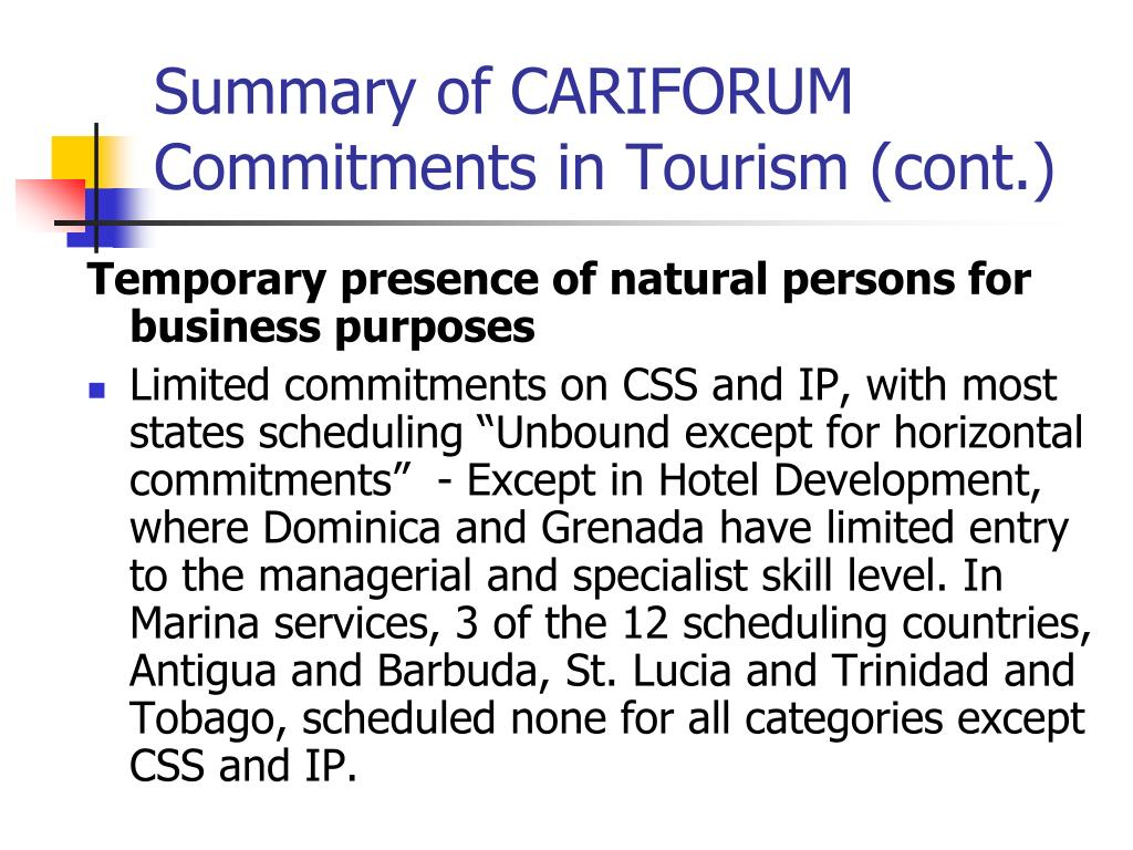 Summary of CARIFORUM Commitments in Tourism (cont.)