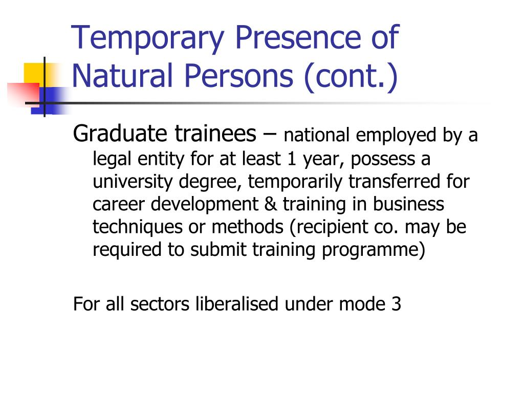 Temporary Presence of Natural Persons (cont.)
