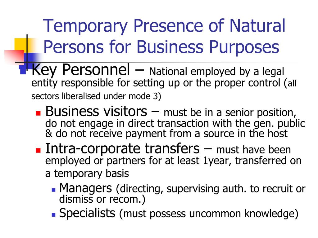 Temporary Presence of Natural Persons for Business Purposes