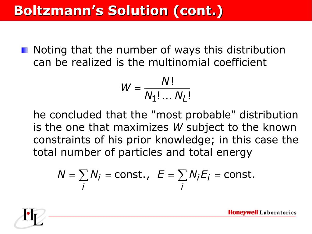 Boltzmann's Solution (cont.)