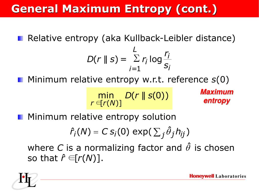 General Maximum Entropy (cont.)