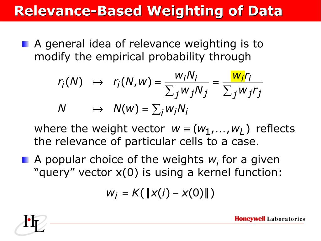 Relevance-Based Weighting of Data