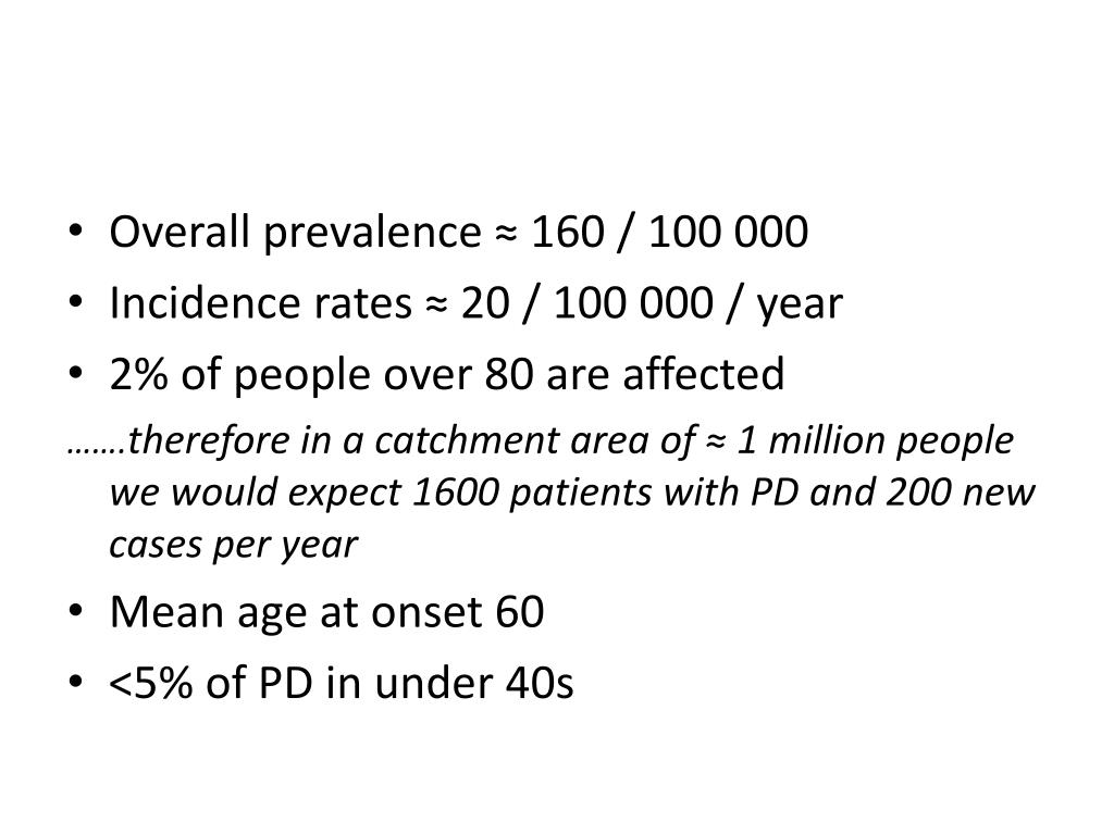 Overall prevalence ≈ 160 / 100 000