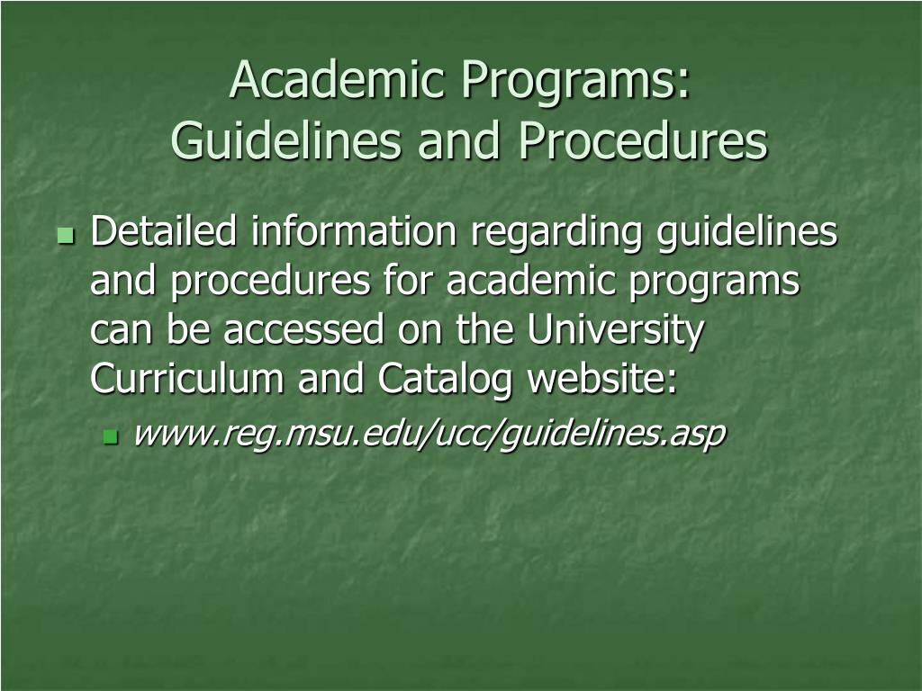 Academic Programs: