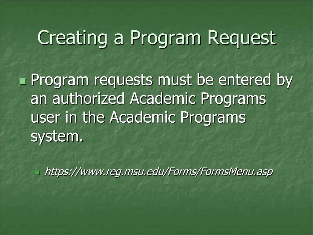 Creating a Program Request
