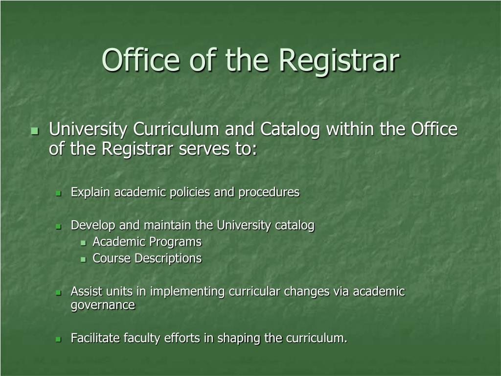 Office of the Registrar