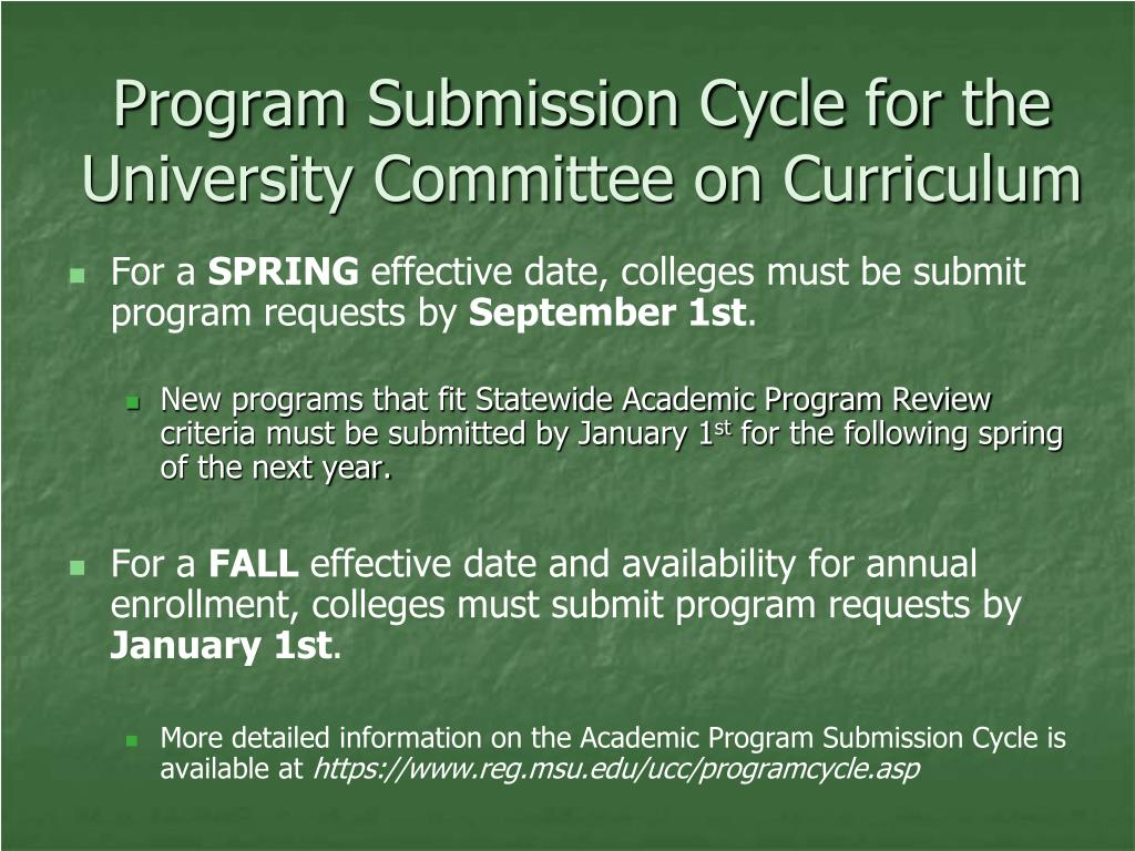 Program Submission Cycle for the University Committee on Curriculum