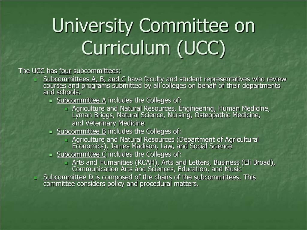 University Committee on Curriculum (UCC)