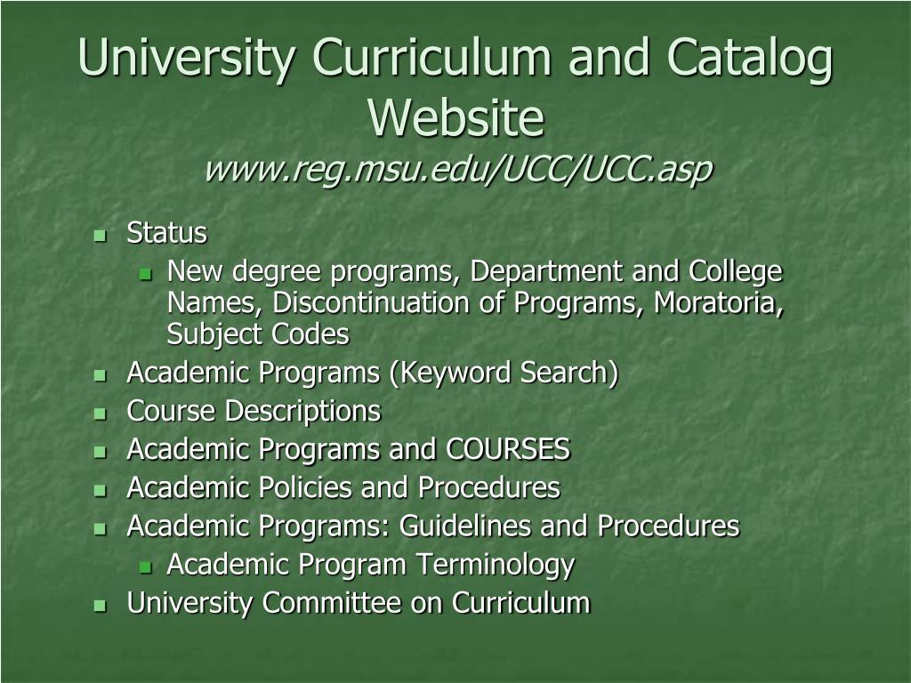 University Curriculum and Catalog Website