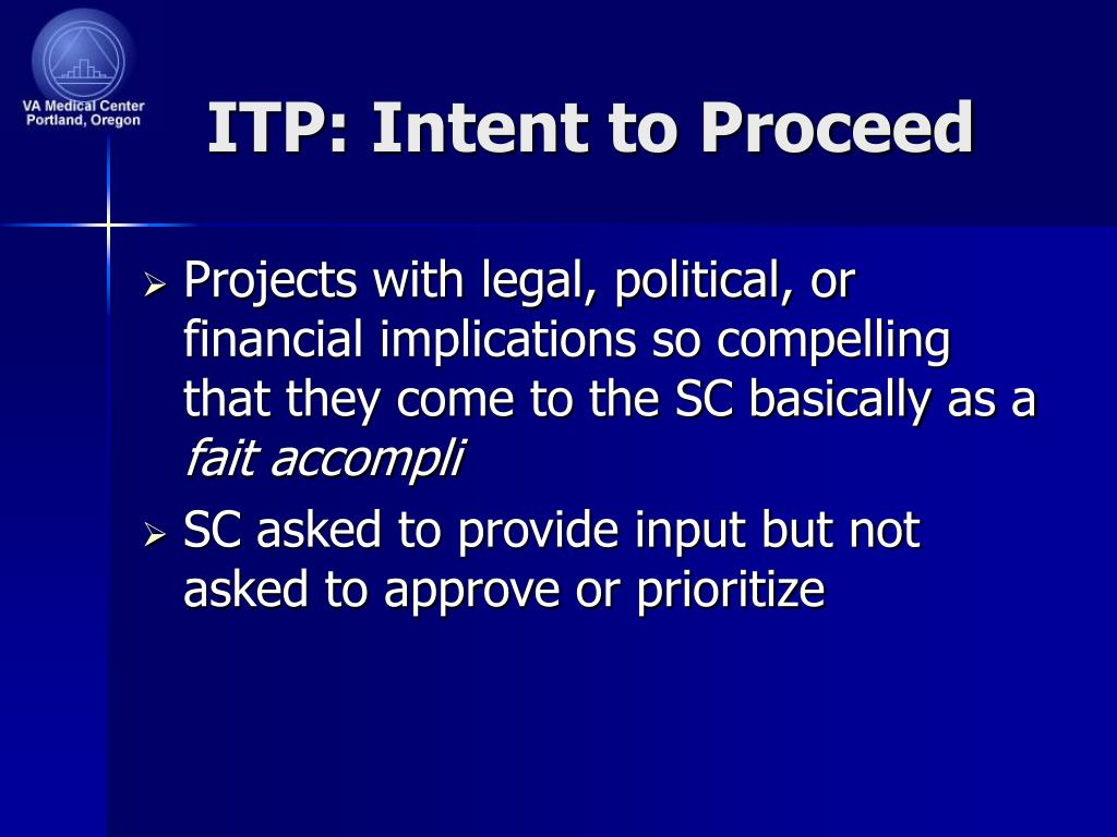 ITP: Intent to Proceed
