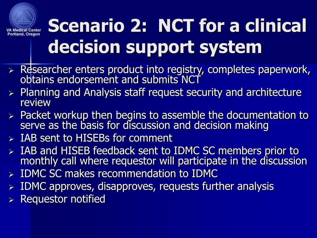 Scenario 2:  NCT for a clinical decision support system